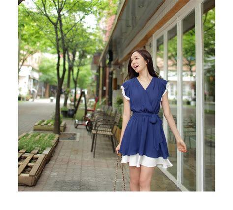 Mini Dress Kerah mini dress import korea kerah v model terbaru jual