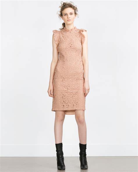 Pink Zara Dress zara frilled guipure lace dress in pink lyst