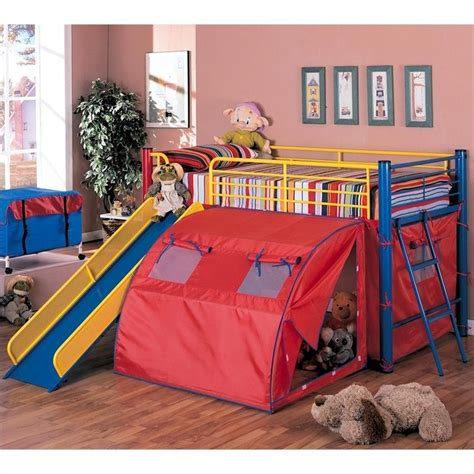 bed tents for boys coaster kids metal twin loft bunk bed with slide and tent