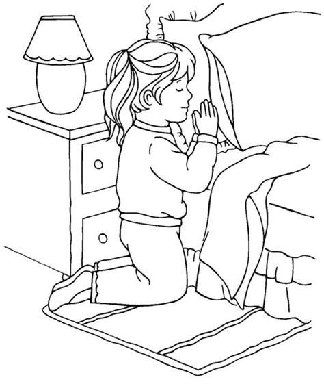 coloring page girl praying little girl devoted doing lords prayer coloring page