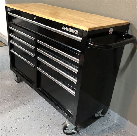 husky 46 inch 9 drawer mobile workbench with solid wood top sold husky 46 quot 9 drawer mobile workbench tool chest
