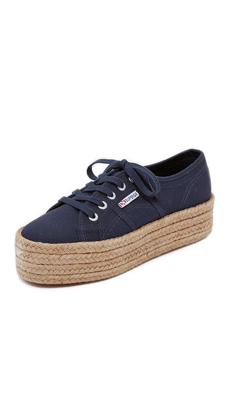 superga platform sneakers superga 2790 platform espadrille sneakers in blue lyst