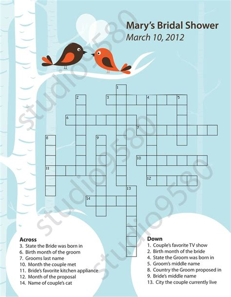 printable bridal shower crossword puzzle printable crossword puzzle bridal shower game