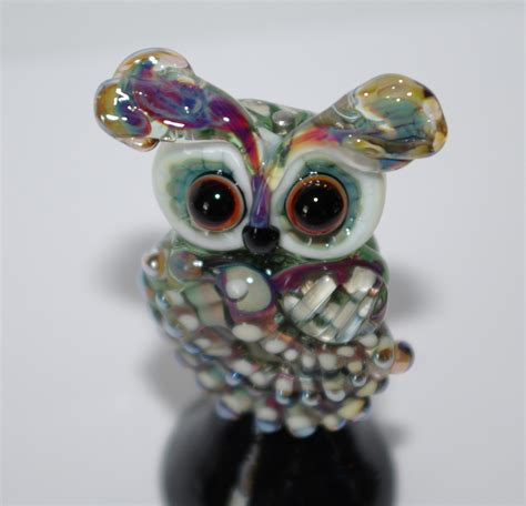 owl 1 large lwork focal glass bead handmade sra by dew