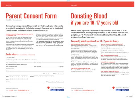 Permission Letter Blood Donation C Parent Consent Form For Blood Donation In Australia For Cross Australian Cross