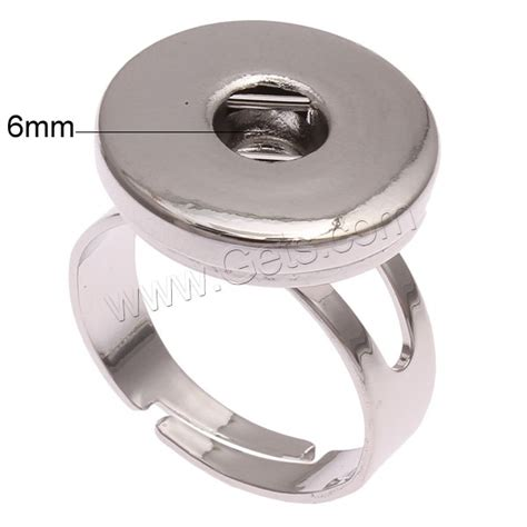 snap button ring zinc alloy platinum color plated lead cadmium free inner approx 6mm us ring