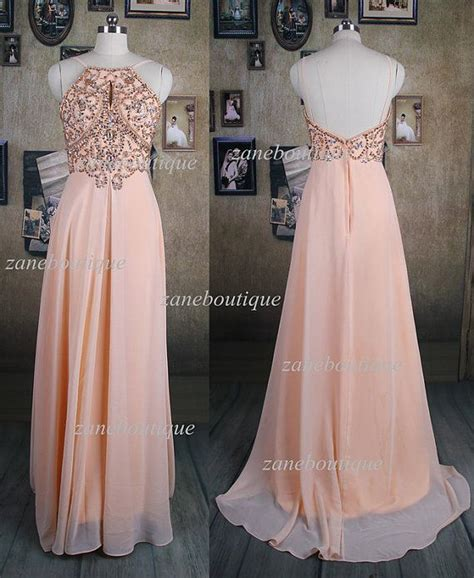 light peach dress light peach prom dress bead prom dress by