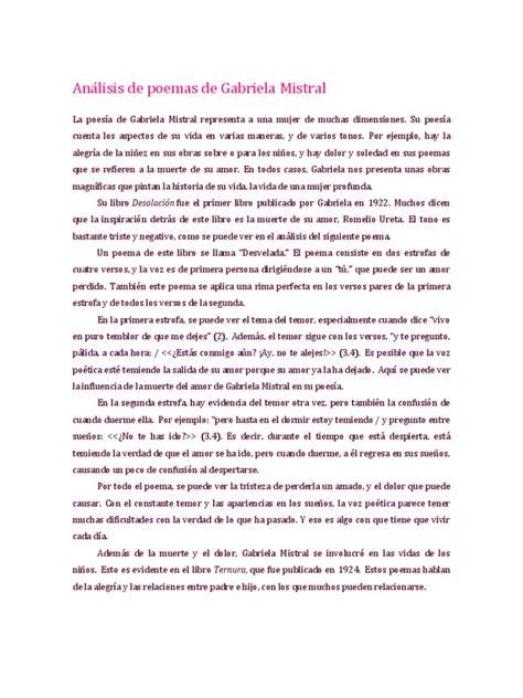 poemas romanticos de cuatro estrofas literatoes an 225 lisis de poemas de gabriela mistral