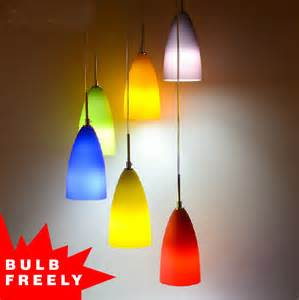 Coloured Pendant Lights Bulb Free 3 Heads 6 Colored Pendant Light Deco Rainbow Glass Light In Pendant Lights From