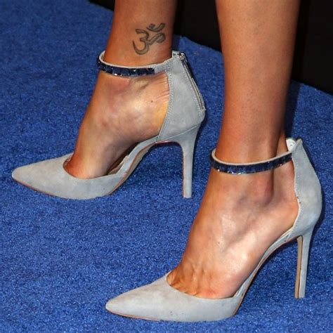 adrianne palicki tattoo black suede ankle boots with gold heels by