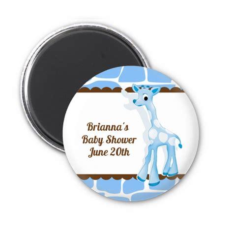The Giraffe Gift Baby Blue giraffe blue personalized baby shower magnet favors