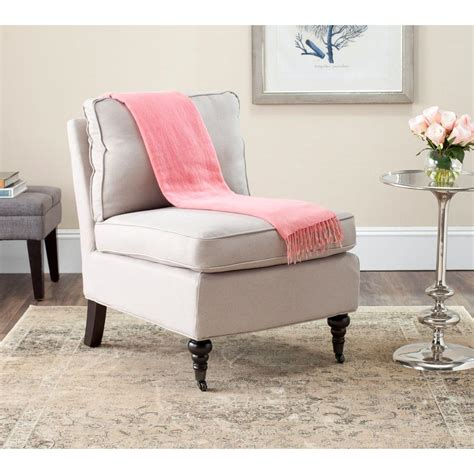 Safavieh Lighting Safavieh Randy Taupe Linen Slipper Chair Mcr4584a The