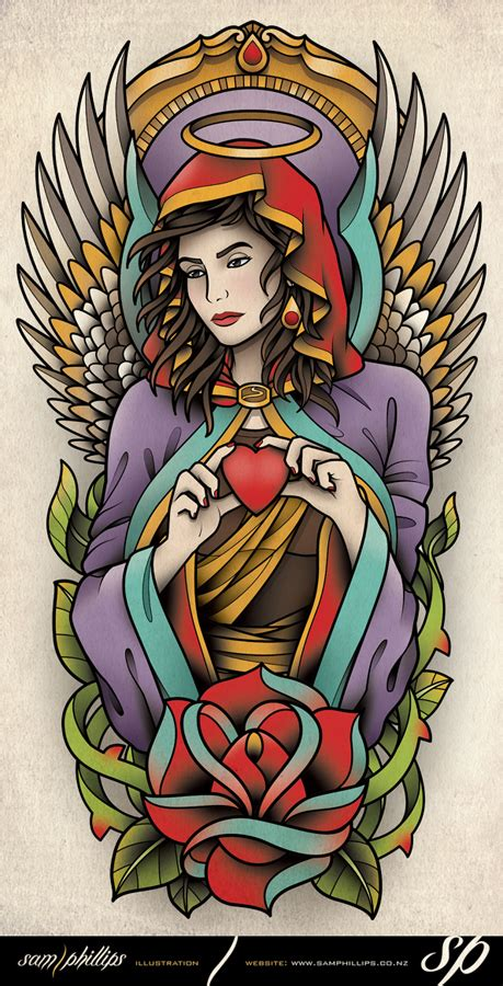 tattoo flash of angels angel half sleeve tattoo design by sam phillips nz on