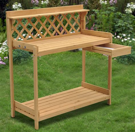 planting bench wood planter potting bench outdoor garden planting work station table stand ebay