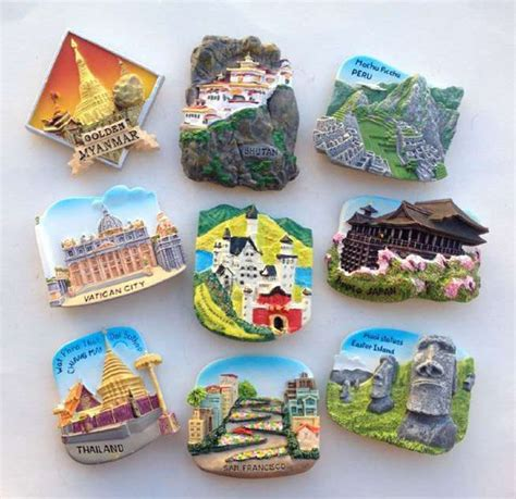 Souvenir Magnet Kulkas 1 vatican peru and myanmar thailand chile easter island 3d