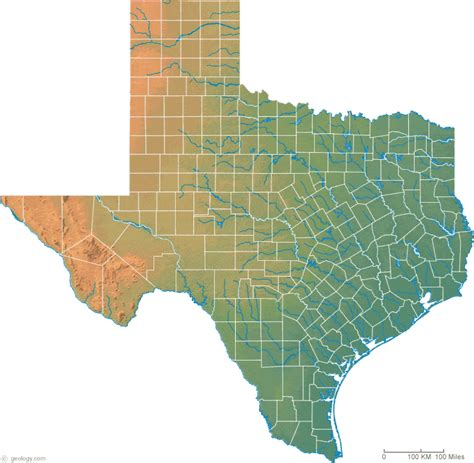 relief map of texas texas physical map and texas topographic map