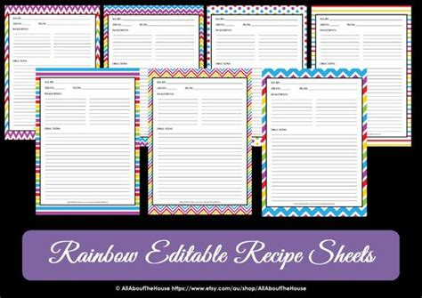 free recipe card template 8 5 x 11 editable printable chevron recipe template recipe card