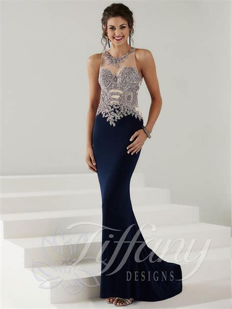 dress design necklines tiffany designs 16137 illusion jeweled bodice prom dress
