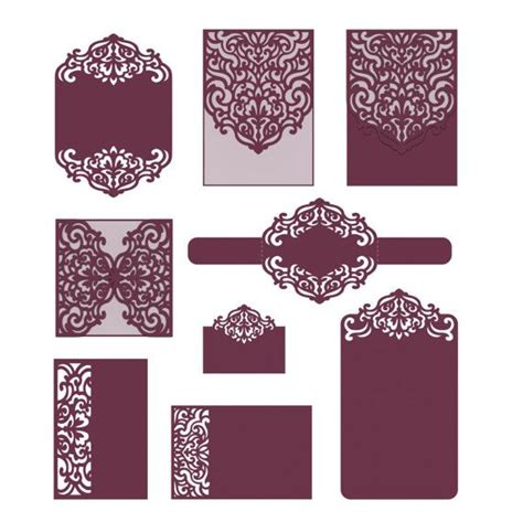 cricut using card templates set laser cut templates svg dxf cdr rsvp reception