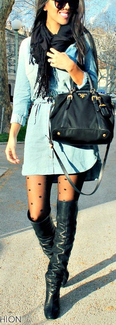 patterned tights boots a denim shirt dress patterned tights and tall boots all
