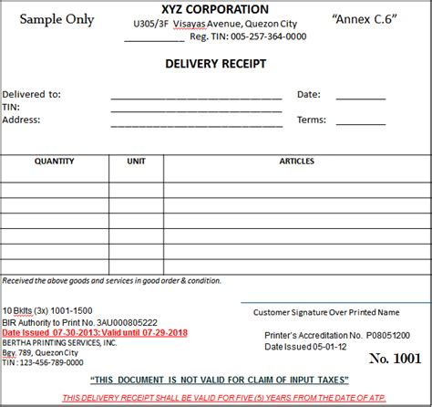 delivery receipt letter template bir bir s new invoicing requirements effective june 30 2013