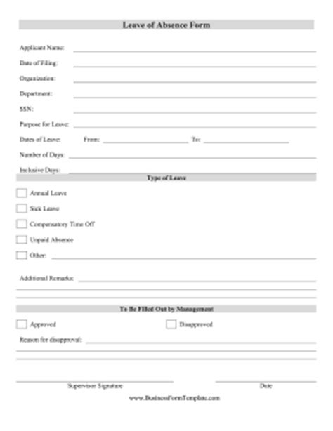 employee sick leave form template leave of absence form template