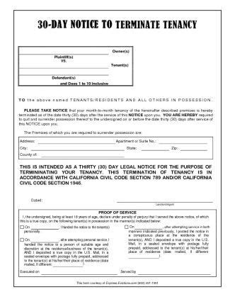 30 Day Eviction Notice Calfornia 30 Day Notice To Terminate Tenancy California Eviction Eviction Notice Template Alabama