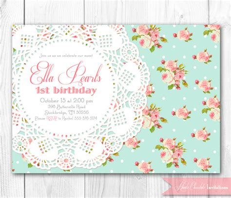 shabby chic birthday invitations template best template