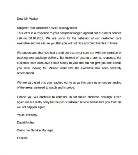 Apology For Poor Service Letter Sle how to write an apology letter for bad customer service