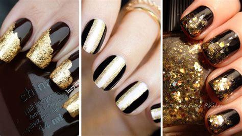 imagenes de uñas negras con dorado 80 dise 241 os de u 241 as color dorado u oro u 209 as decoradas