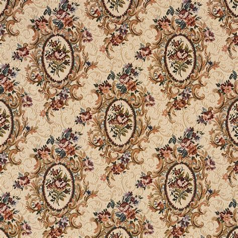 Fabric For Reupholstering Burgundy Beige And Green Floral Bouquet Tapestry