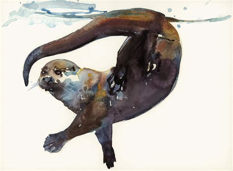 Lion Decor Home Otter Study Ii Painting By Mark Adlington