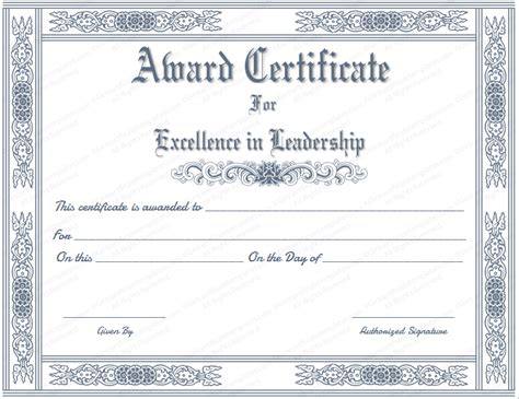 Free Printable Best Leader Award Certificate Template Leadership Certificate Template Free