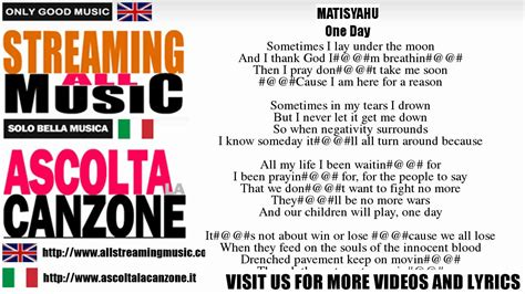 we are one testo matisyahu one day lyrics testo