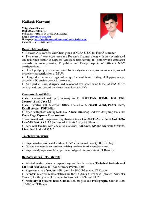 Resume Templates For No Work Experience by 11 Student Resume Sles No Experience Resume