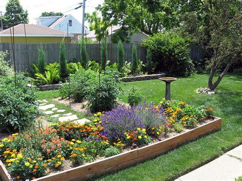 backyard flower garden design raised beds for easy low maintenance backyard gardens