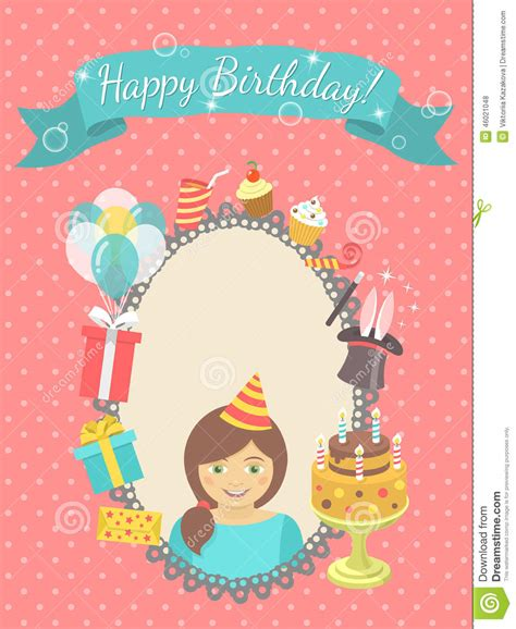 Birthday Card With Happy Birthday Card For Girl Stock Vector Image 46021048