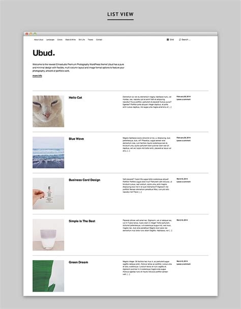 wordpress theme listview ubud our newest minimal photography wordpress theme