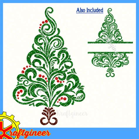 filigree swirly christmas tree svg split tree svg cut file for
