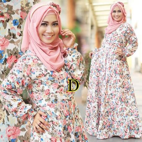 Dress Flower Brukat Black Terlaris basic flower d baju muslim gamis modern