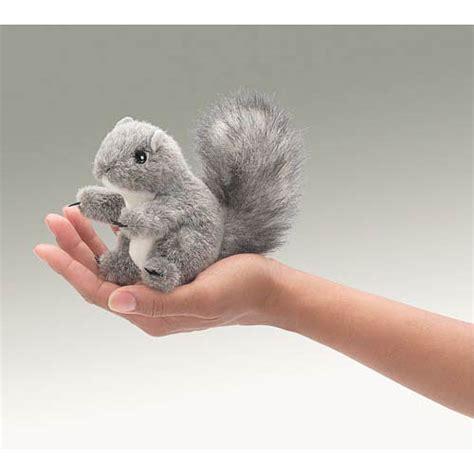 mini gray squirrel finger puppet sense