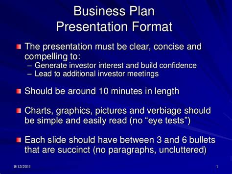 business plan format and presentation b plan ppt format