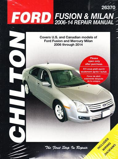 ford fusion mercury milan chiltons total car care manual