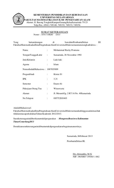 contoh surat aktif kuliah wisata dan info sumbar
