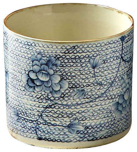 Blue And White Round Porcelain Vase Planter Traditional Blue And White Planters