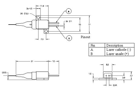 pin configuration of diode fiber coupled laser diode 4w 808nm