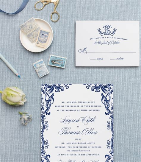 Blue Wedding Invitation Paper by Blue And White Chinoiserie Wedding Invitations Blush