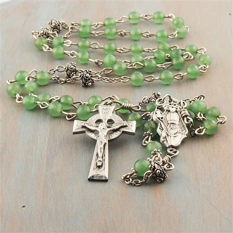 celtic cross with rosary emerald green jade catholic rosary pewter celtic cross st