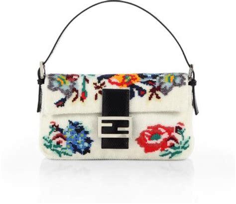 Fendi Multicolor And Beaded Rhinestone Baguette by Fendi Beaded Flower Baguette Shoulder Bag In Multicolor Lyst