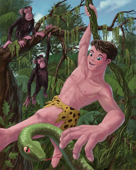 tarzan the jungle man swinging from a rubber band swinging boy tarzan painting by martin davey